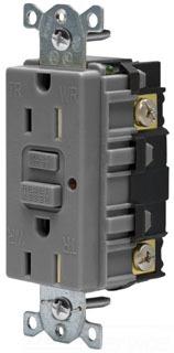 15A 125V COMM LED TAMPER-RES GFCI, GY