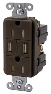 BROWN USB Charger Tamper-Resis tant Receptacle,