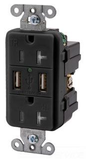 USB CHG 2 PORT T/R 15 DEC REC BLACK'