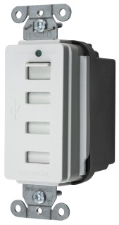 WHT USB Charger 4 Port Outlet, Four USB Type 2.0 Ports