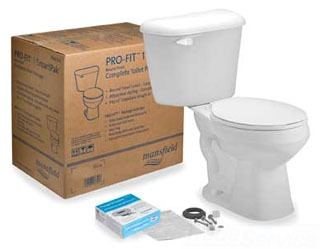 MANSFIELD 4130CTK WHT PRO-FIT1 ROUND SmartPak 1.28 GPF COMPLETE TOILET SET *Includes: Toilet Bowl & Tank, Seat, Wax Ring w/ Flange Bolts