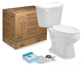 MANSFIELD 4135CTK WHT PRO-FIT2 ELONGATED SmartPak 1.28 GPF COMPLETE TOILET SET *Includes: Toilet Bowl & Tank, Seat, Wax Ring w/ Flange Bolts