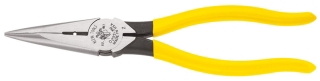 "D203-8N KLEIN LONG-NOSE PLIERS- 8-7/16"" HD SIDE-CUTTING WITH WIRE-STRIPPING HOLE"