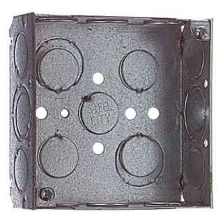 """52151 1/2 3/4 STEEL CITY SQUARE DEVICE BOX - 4"""" 1-1/2""""DEEP WITH 1/2"""" AND 3/4"""" CONCENTRIC CONDUIT KNOCKOUTS"""