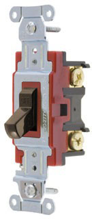 1221B HUBBELL 20A 125/277V 1 POLE BACK & SIDE WIRED TOGGLE SWITCH BROWN
