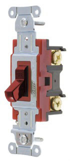 1221R HUBBELL 20A 120/277V 1-POLE TOGGLE SWITCH RED HANDLE