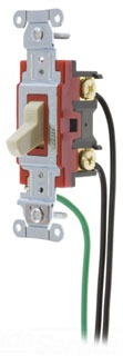 """1221PWI HUBBELL 20A 125.277V 1 POLE BACK & SIDE WIRED TOGGLE SWITCH WITH 8"""" LEADS BROWN"""