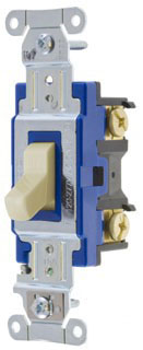 1201I HUBBELL 15A 120/277V 1 POLE BACK & SIDE WIRED TOGGLE SWITCH IVORY
