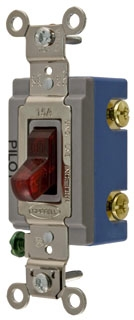1201-PL HUBBELL 15 AMP 125-277V TOGGLE SWITCH WITH RED PILOT LIGHT