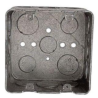 "2G4D 1/2 3/4 STEEL CITY SQUARE METALLIC DEVICE BOX- 4"", & 3/4"" KOS WITH GROUND BUMP"