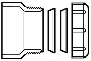 1-1/2X1-1/2 & 1-1/4 PVC TRAP ADPT HUBXSJ P104R-015