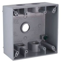 5345-0 RACO WP BOX 2G 5 (3/4 OUTLETS) GRY 05016953450