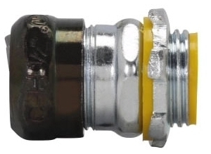 Crouse-Hinds Series 1653RT 1-1/4 Inch Steel Insulated Raintight Compression Straight EMT Connector