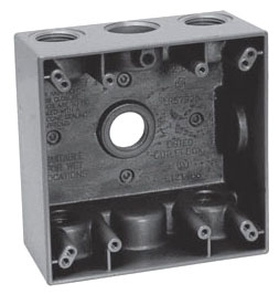 Crouse-Hinds Series TP7106 2-Gang 30.5 Cubic Inch 2 Inch Deep 5 - 3/4 Inch Outlet Holes 10/Box Gray Weatherproof Outlet Box