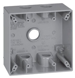 Crouse-Hinds Series TP7134 2-5/8 Inch Gray Die-Cast Aluminum 2-Gang Weatherproof Outlet Box