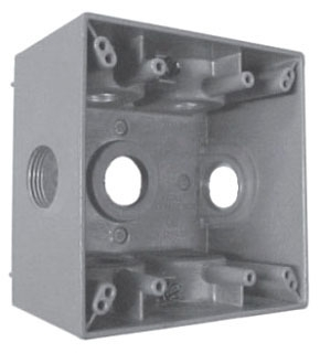 Crouse-Hinds Series TP7142 2-5/8 Inch Gray Die-Cast Aluminum 2-Gang Weatherproof Outlet Box