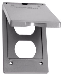Crouse-Hinds Series TP7199 Gray Die-Cast Aluminum 1-Gang Weatherproof Outlet Duplex Cover with Gasket