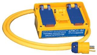 Ericson Manufacturing Company 1060 6 Foot 120 Volt 15 Amp 1800 W #12/3 AWG SOOW NEMA 5-15 Plug Auto Multiple Outlet GFCI