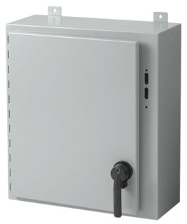 Hoffman A60SA3816LPPL 60 x 37.38 x 16 Inch White/Gray 14 Gauge Steel NEMA 12 Wall Mount Disconnect Enclosure with Handle