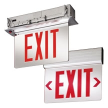 Lithonia Lighting EDG 2 R EL M6 120/277 Volt Red on Clear Brushed Aluminum Double Face Surface Mount LED Edge-Lit Exit Sign