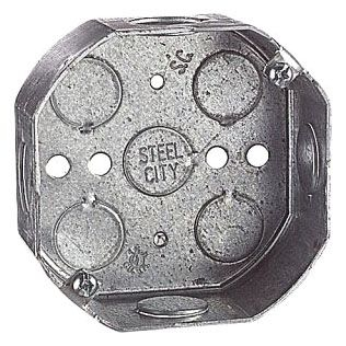 "Steel City 54151-1/2 4"" Pre-galvanized Steel Octagon Box, 1-1/2"" Deep, 15.8 cu in."