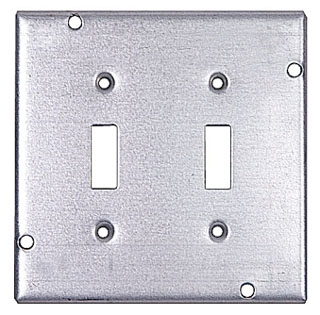 Steel City RSL-5 4-11/16 Square 2 Toggle Switches Steel Cover