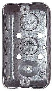 "Steel City 58371-1/2 Steel Handy/Utility Box, 4"" x 2-1/8"" x 2-1/8"", 14.5 cu.in. w/ 1/2"" KOs"