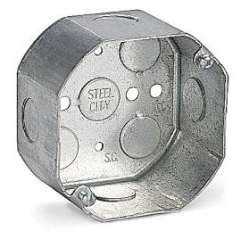 Steel City 541711/2-25 4 Inch Diameter 2.125 Inch Depth 22.5 In Steel Octagon Box with 1/2 Inch Knockout