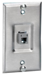 Hubbell Premise Wiring P630SR1GJ8 1-Gang 1-Port Stainless Steel Wall Phone Plate with HD5EB4
