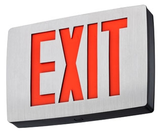 Lithonia Lighting LQC 2 R EL N 120/277 VAC Red Letter Die-Cast Aluminum Double Face LED Exit Sign