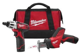 Milwaukee Tool 2490-22 M12 Combo Drive Drill Hackzall with 2 Battery