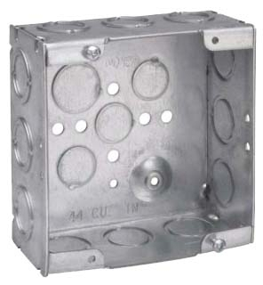 Crouse-Hinds Series TP521 4-11/16 x 4-11/16 x 2-1/8 Inch Steel Welded Square Outlet Box