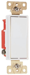 Pass & Seymour 2621-W 20 Amp 120/277 VAC 1-Pole White Polycarbonate Screw Mounting Rocker Decorator Switch