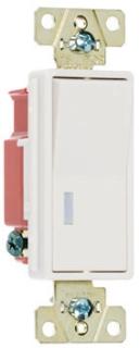 Pass & Seymour 2629-W 1.3 x 1.06 x 4.2 Inch 120 VAC 20 Amp 1-Pole White Pilot Lighted Decorator Switch