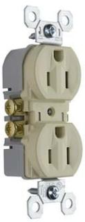 Pass & Seymour 3232-TRI 15 Amp 125 VAC 2-Pole 3-Wire NEMA 5-15R Ivory Thermoplastic Duplex Receptacle