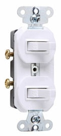 Pass & Seymour 670-WG 20 Amp 120/277 VAC 1-Pole White Grounding Duplex Combination Switch