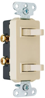 Pass & Seymour 680-LAG 15 Amp 120/277 VAC 1-Pole Light Almond Grounding Duplex Decorator Combination Switch