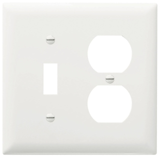Pass & Seymour TP18-W 2-Gang 1-Toggle Switch 1-Duplex Receptacle White Nylon Standard Combination Unbreakable Wallplate