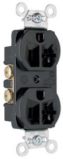 Pass & Seymour CRB5362-BK 20 Amp 125 VAC 2-Pole 3-Wire NEMA 5-20R Black Nylon Face Duplex Straight Blade Receptacle