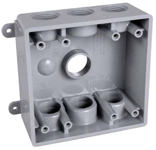 TayMac Corp PDB77550GY 2-Gang 7-Hole Gray PVC Rectangular Outlet Box