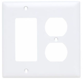 Pass & Seymour TP826-W 2-Gang 1-Duplex Receptacle 1-Decorator White Nylon Standard Combination Unbreakable Wallplate