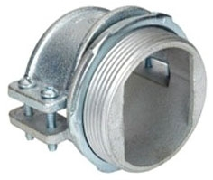 Bridgeport 689-XM 3-1/2 Inch Zinc Electroplated Malleable Iron 4-Screw Strap MC Cable Connector