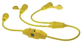 Woodhead 26W47-Y-IN 2-Pole 3-Wire 20 Amp 125 Volt 0.91 m 12 AWG NEMA L5-20 Yellow Locking Y Cord Set