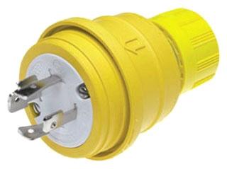 Woodhead 26W76 3-Pole 4-Wire 20 Amp 480 Volt 3-Phase NEMA L16-20 Yellow Locking Plug