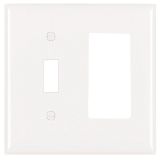 Pass & Seymour TP126-W 2-Gang 1-Toggle Switch 1-Decorator White Nylon Standard Combination Unbreakable Wallplate