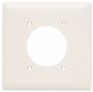 Pass & Seymour TP703-LA 2-Gang 1-Power Outlet Receptacle Light Almond Nylon Standard Unbreakable Wallplate