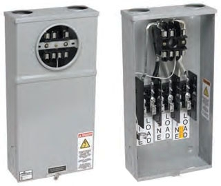 B-Line Series 124 TB 600 Volt 200 Amp 1-Phase 3-Wire 4-Jaw CT Rated Single Meter Socket with Safety Socket Bypass