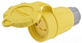 Hubbell Wiring Devices 29W75H 30 Amp 250 Volt 3-Pole 4-Wire NEMA L15-30R Yellow Watertight Locking Connector