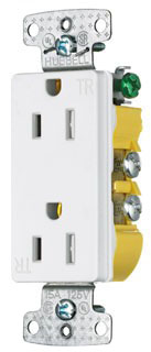 Hubbell Wiring Devices RRD15SWTR 15 Amp 125 Volt 2-Pole 3-Wire NEMA 5-15R White Decorator Duplex Receptacle