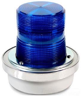 Edwards Signaling 50B-N5-40WH 120 VAC Blue Cast Metal Base Flashing Halogen Beacon